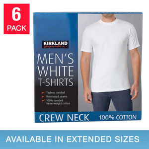 KIRKLAND MEN'S CREW NECK TEE- 6 Pack-White